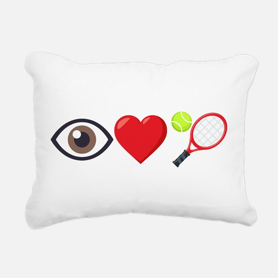 I Heart Tennis Emoji Rectangular Canvas Pillow