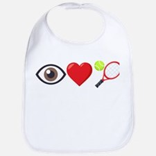 I Heart Tennis Emoji Cotton Baby Bib