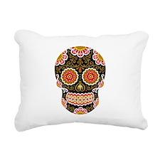 Black Sugar Skull Rectangular Canvas Pillow
