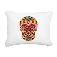 Red Sugar Skull Rectangular Canvas Pillow