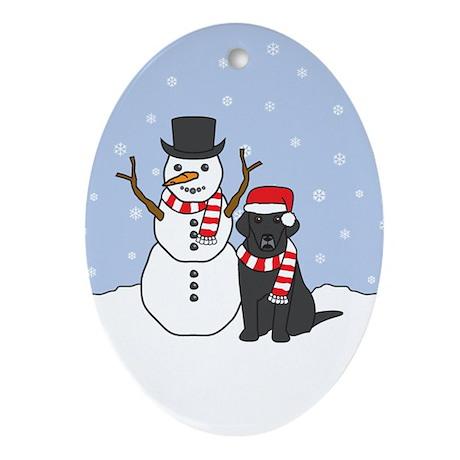 Black Labrador Retriever Winter Oval Ornament