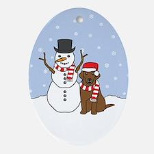 Chocolate Labrador Retriever Winter Oval Ornament