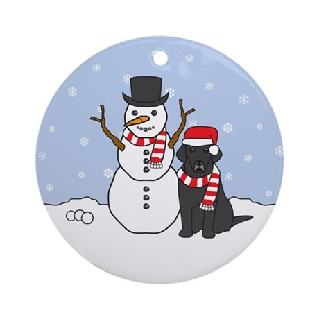 Black Labrador Retriever Winter Ornament
