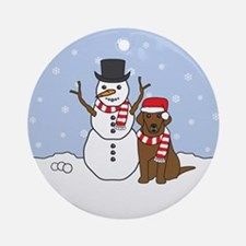 Chocolate Labrador Retriever Winter Ornament