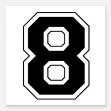"8 black.png Square Car Magnet 3"" x 3"""