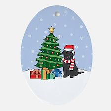 Black Labrador Retriever Christmas Oval Ornament