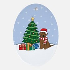 Chocolate Labrador Christmas Oval Ornament