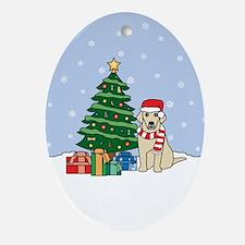Yellow Labrador Christmas Oval Ornament