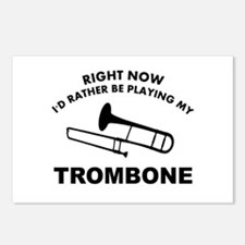 Trombone silhouette designs Postcards (Package of