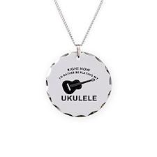 Ukulele silhouette designs Necklace Circle Charm