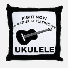 Ukulele silhouette designs Throw Pillow