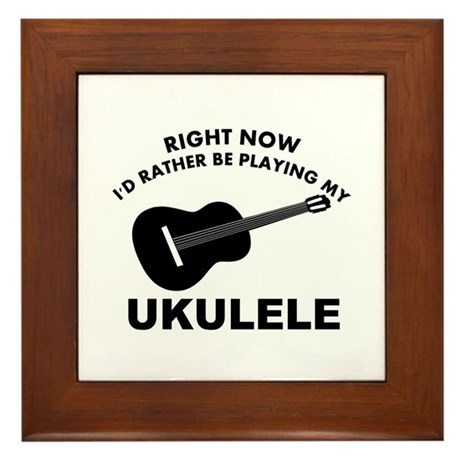 Ukulele silhouette designs Framed Tile