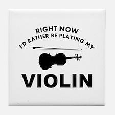 Violin silhouette designs Tile Coaster
