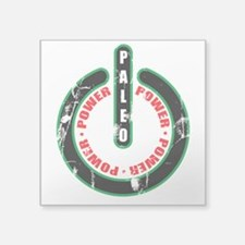 "Paleo Power Circle Square Sticker 3"" x 3"""