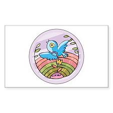 Bird & Earth Circle Rectangle Decal