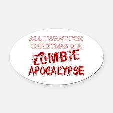 Christmas Zombie Apocalypse Oval Car Magnet