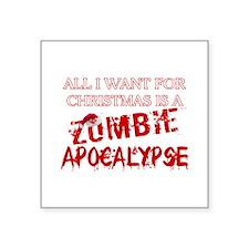 "Christmas Zombie Apocalypse Square Sticker 3"" x 3"""
