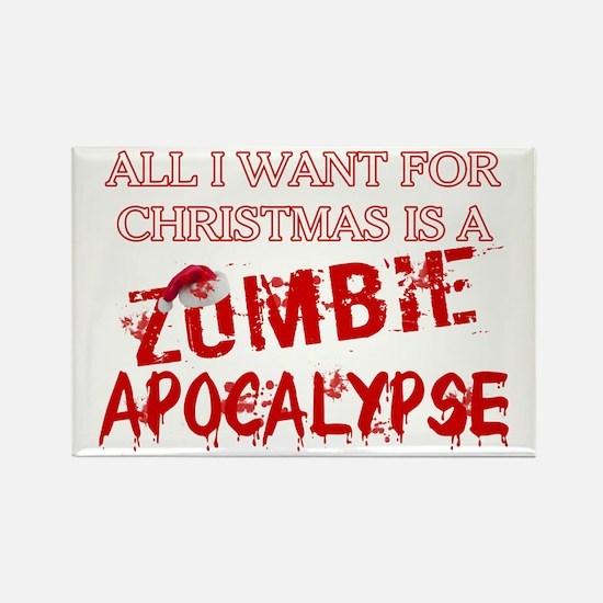 Christmas Zombie Apocalypse Rectangle Magnet