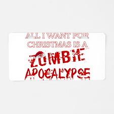 Christmas Zombie Apocalypse Aluminum License Plate