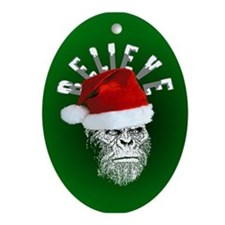 Sasquatch/Bigfoot Santa BELIEVE Ornament (Oval)