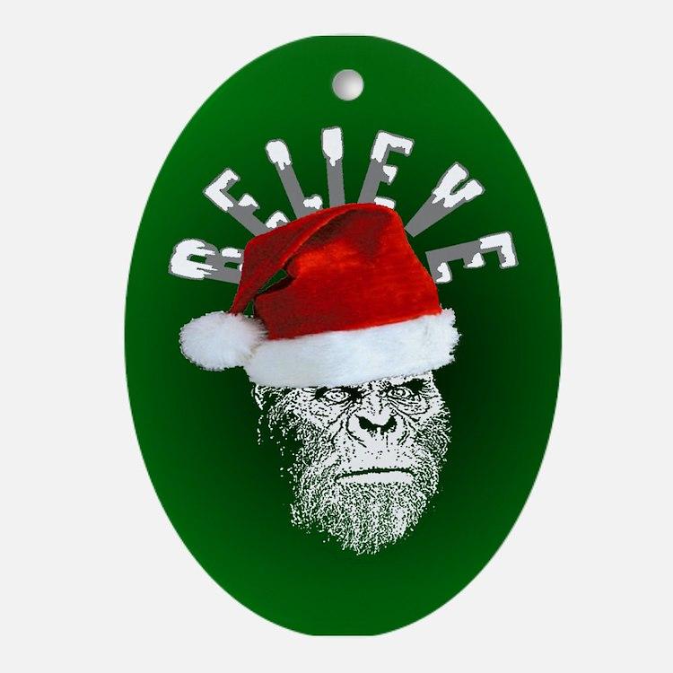 Sasquatch/Bigfoot Santa BELIEVE Ornament (Oval)