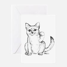 Maneki Neko Beckoning Cat Greeting Card