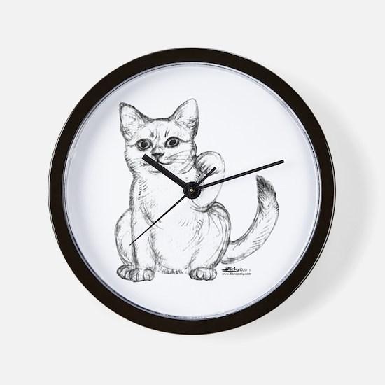 Maneki Neko Beckoning Cat Wall Clock