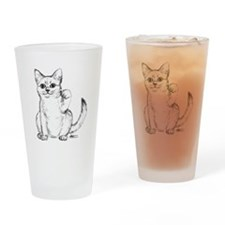 Maneki Neko Beckoning Cat Drinking Glass