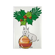 Westie on Ornament Rectangle Magnet