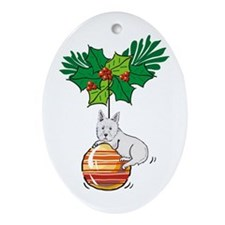 Westie on Ornament Oval Ornament