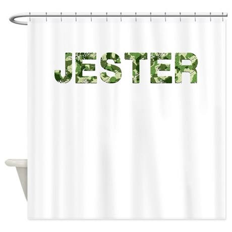 Jester Vintage Camo Shower Curtain By Thecafemarket