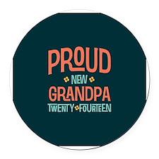 Proud New Grandpa 2014 Round Car Magnet