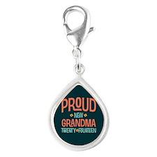 Proud New Grandma 2014 Silver Teardrop Charm