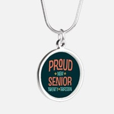 Proud New Senior 2013 Silver Round Necklace