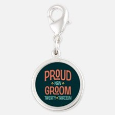 Proud New Groom 2013 Silver Round Charm