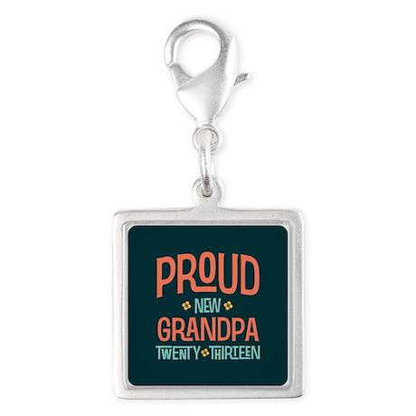 Proud New Grandpa 2013 Silver Square Charm