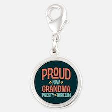 Proud New Grandma 2013 Silver Round Charm