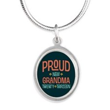 Proud New Grandma 2013 Silver Oval Necklace