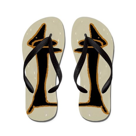 Abstract Black Dachshund Flip Flops