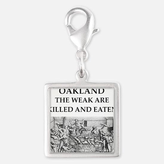 oakland Silver Square Charm
