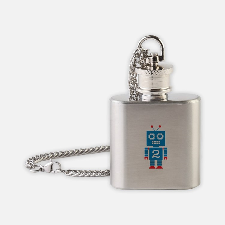 Beep Blue Robot Flask Necklace