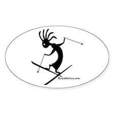 Kokopelli Extreme Skier Oval Stickers