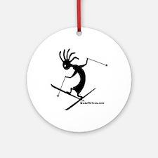 Kokopelli Extreme Skier Ornament (Round)