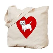 Westie Heart Tote Bag