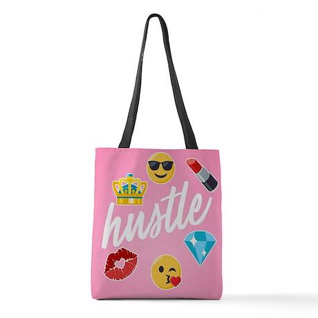 Hustle Pink Emojis Polyester Tote Bag