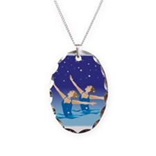 Funny Synchro swimming Necklace Oval Charm