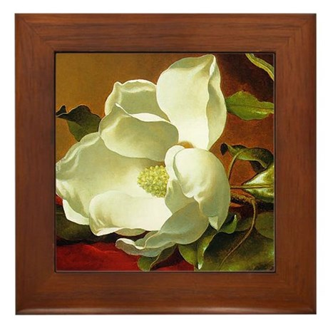 Magnolia Flower Framed Tile