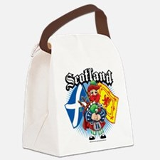 Scotland-Flags-and-Piper.png Canvas Lunch Bag