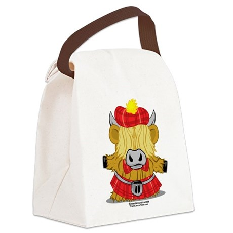 Highland-Cow-Red-Kilt-2009.png Canvas Lunch Bag