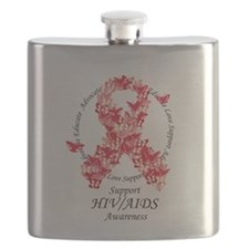 AIDS Butterfly Ribbon Flask